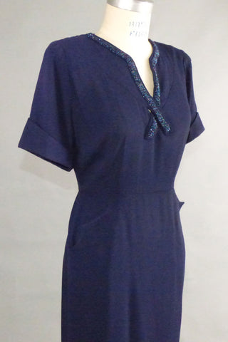 Vintage Blue 40s Rayon Dress