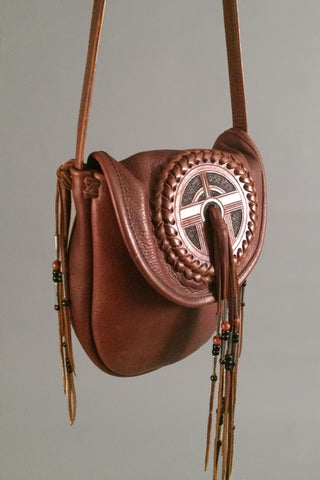 Vintage Vintage Tooled & Fringed Saddle Bag