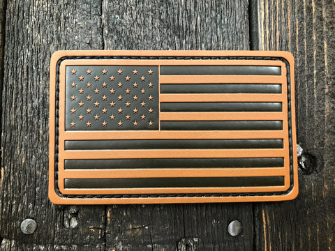 US Flag Leather Patch