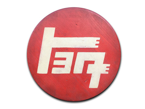 "Round Toyota ""TEQ"" Distressed Sign"