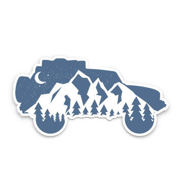 FJ Cruiser Mountain night sky silhouette sticker