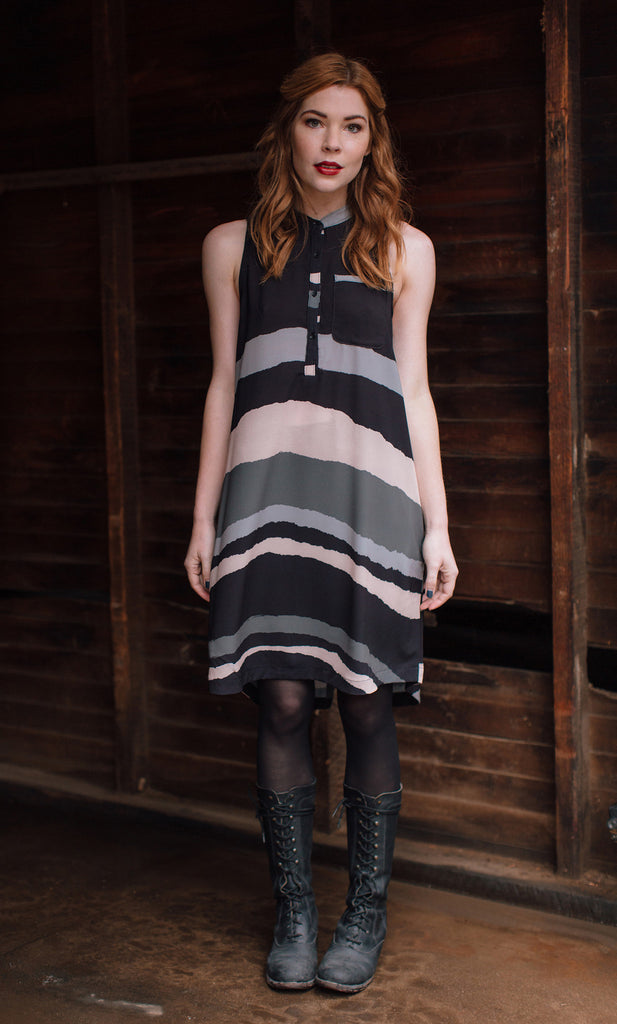 JOLN Black & Blush Stripe Dress