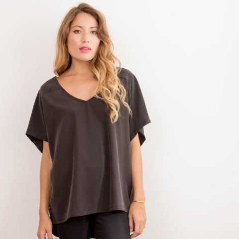Womens Black Japanese Chiffon Box Tee