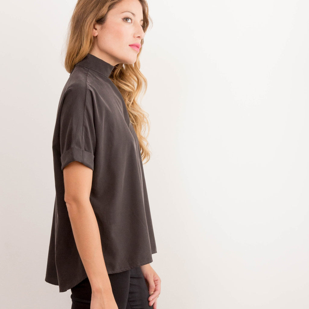 womens black japanese chiffon mock neck top