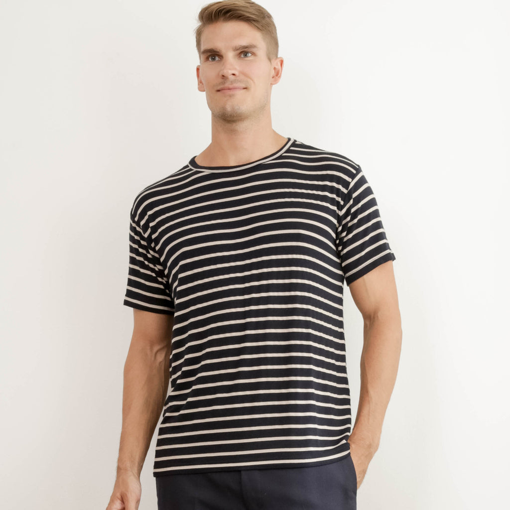 Reclaimed Unisex Super Soft Black and Tan Stripe Tee