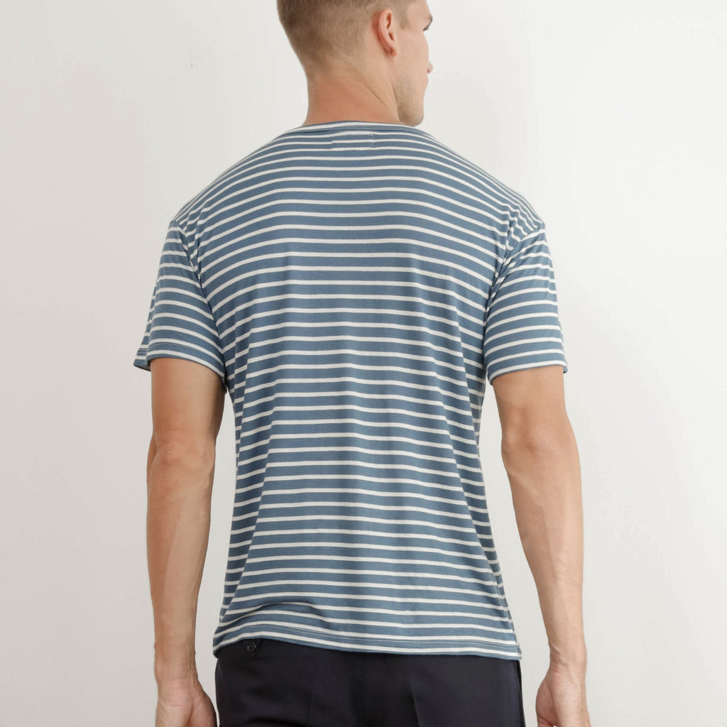 Reclaimed Unisex Super Soft Blue and White Stripe Tee