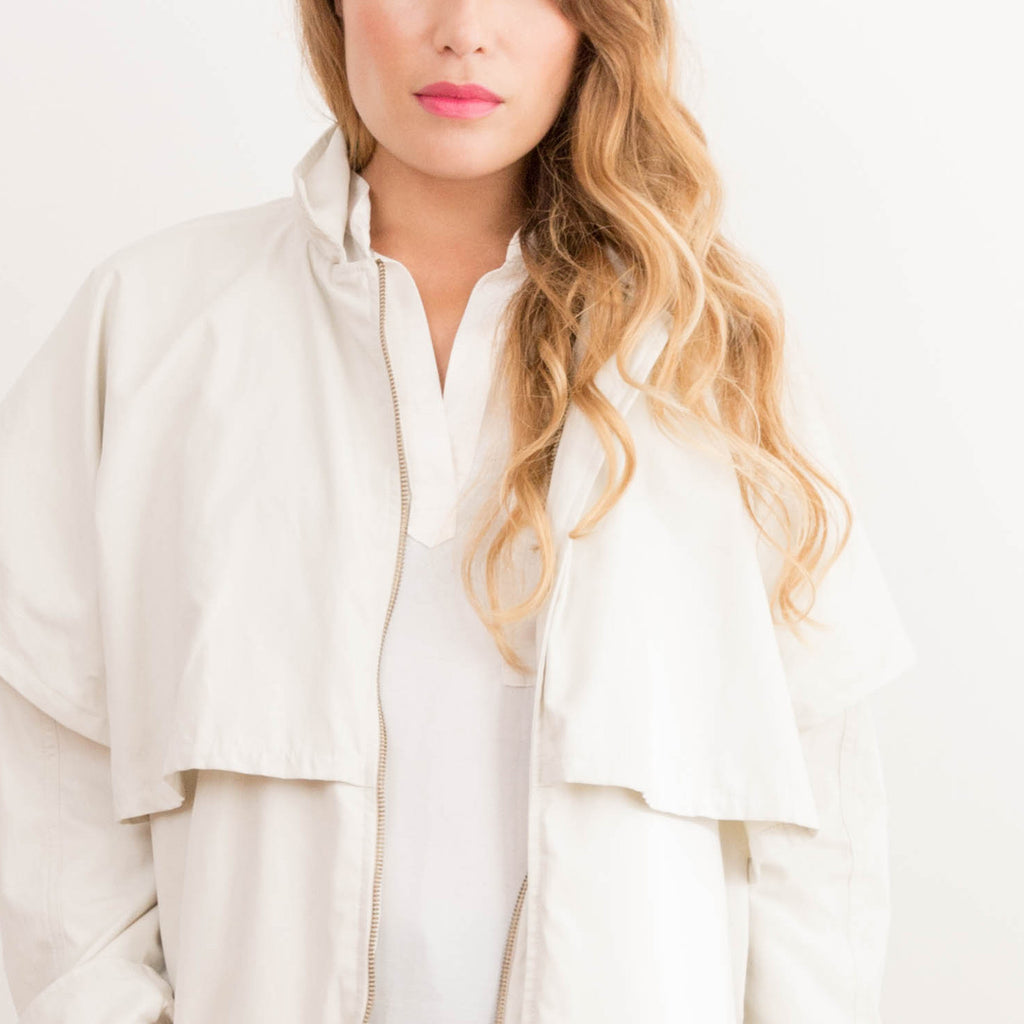 Womens Reclaimed Ivory Cape Trench