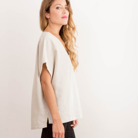 Women's Reclaimed Cream Dobby Box Tee
