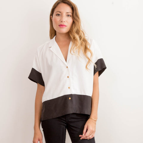 Womens Japanese Chiffon Button up Black and White shirt