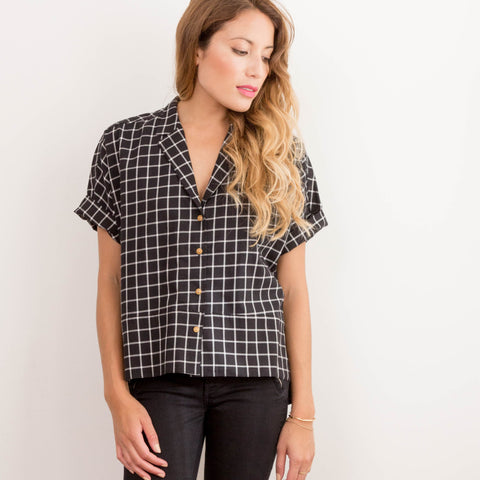 Womens Black Check Dorus Vintage Button Up Cotton Shirt
