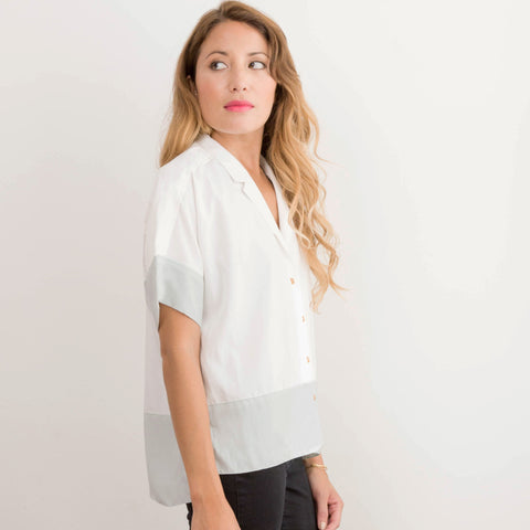 Womens Japanese Mint White Dorus Button Up Chiffon Shirt
