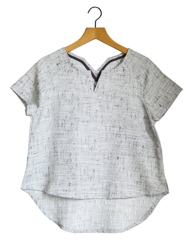 Womens Recycled Raglan Linen Textured Tee
