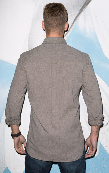 brown grey solid chambray shirt mens buttonup japanese soft