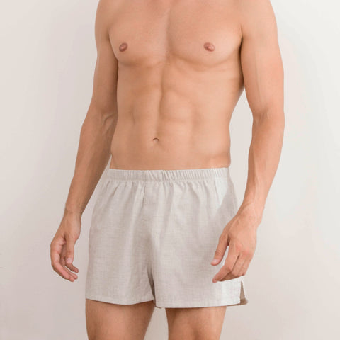 Lt Heather Soft Cotton Boxer Shorts