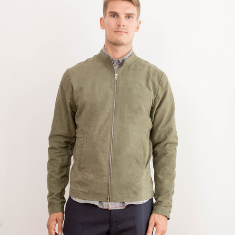 Mens Cafe Racer Military Tent Green Jacket