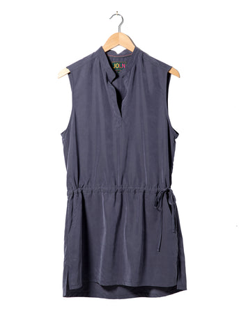 dress womens sleeveless chiffon silk navy spring