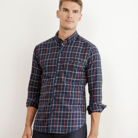 Mens Reclaimed Club Collar Navy Check Poplin Shirt