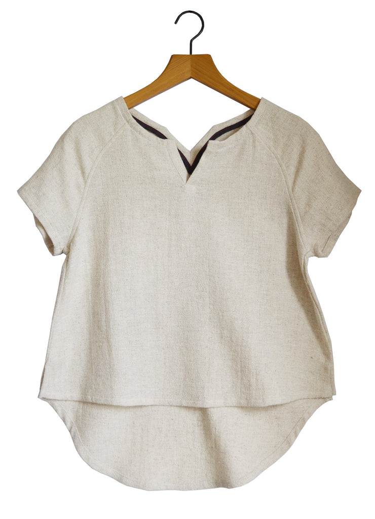 Womens Recycled Natural Raglan Linen Textured Tee