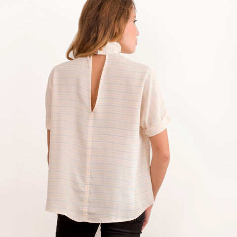 Womens Blush Stripe Mock Neck Stripe Top