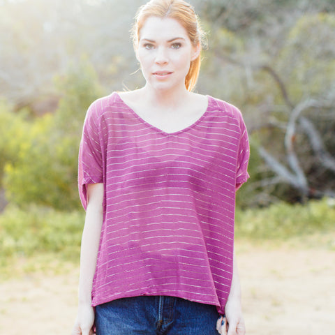 JOLN Womens Reclaimed Purple Silk Chiffon Box Tee