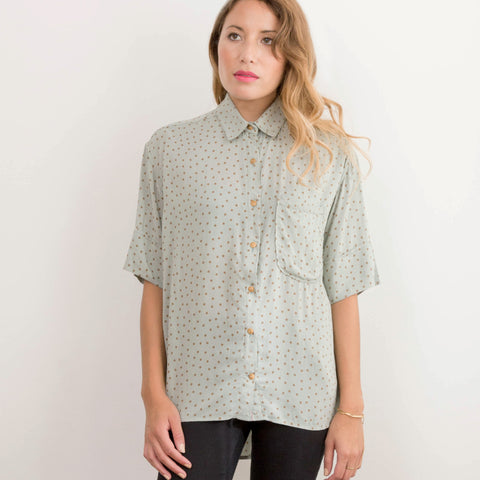 Polka Dot Sweep Shirt - Sea Green