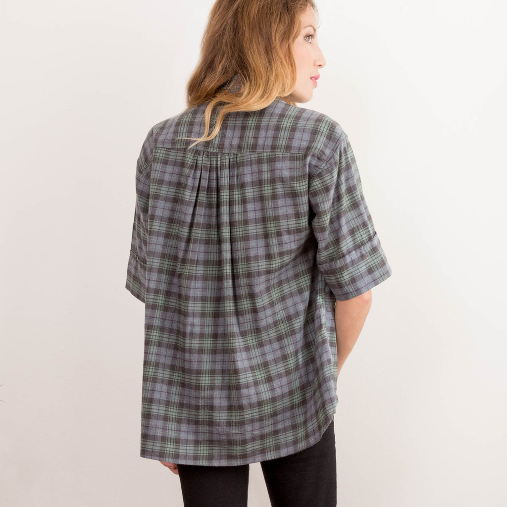 Womens Forest Japanese Flannel Button Up Shirt