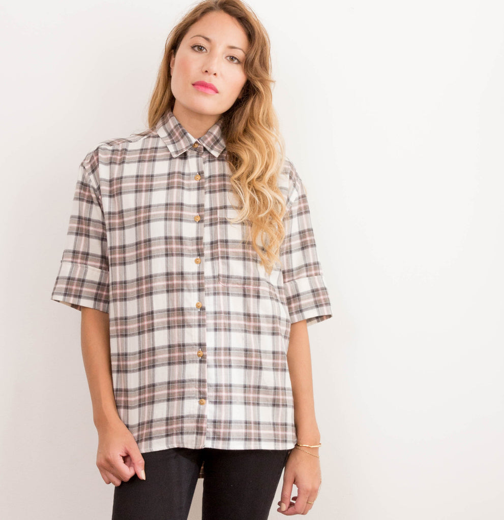 Womens Japanese Cream Flannel Sweep Shirt
