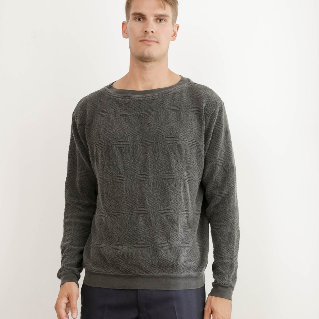 JOLN Unisex Vintage Indigo Crew Cotton Sweater