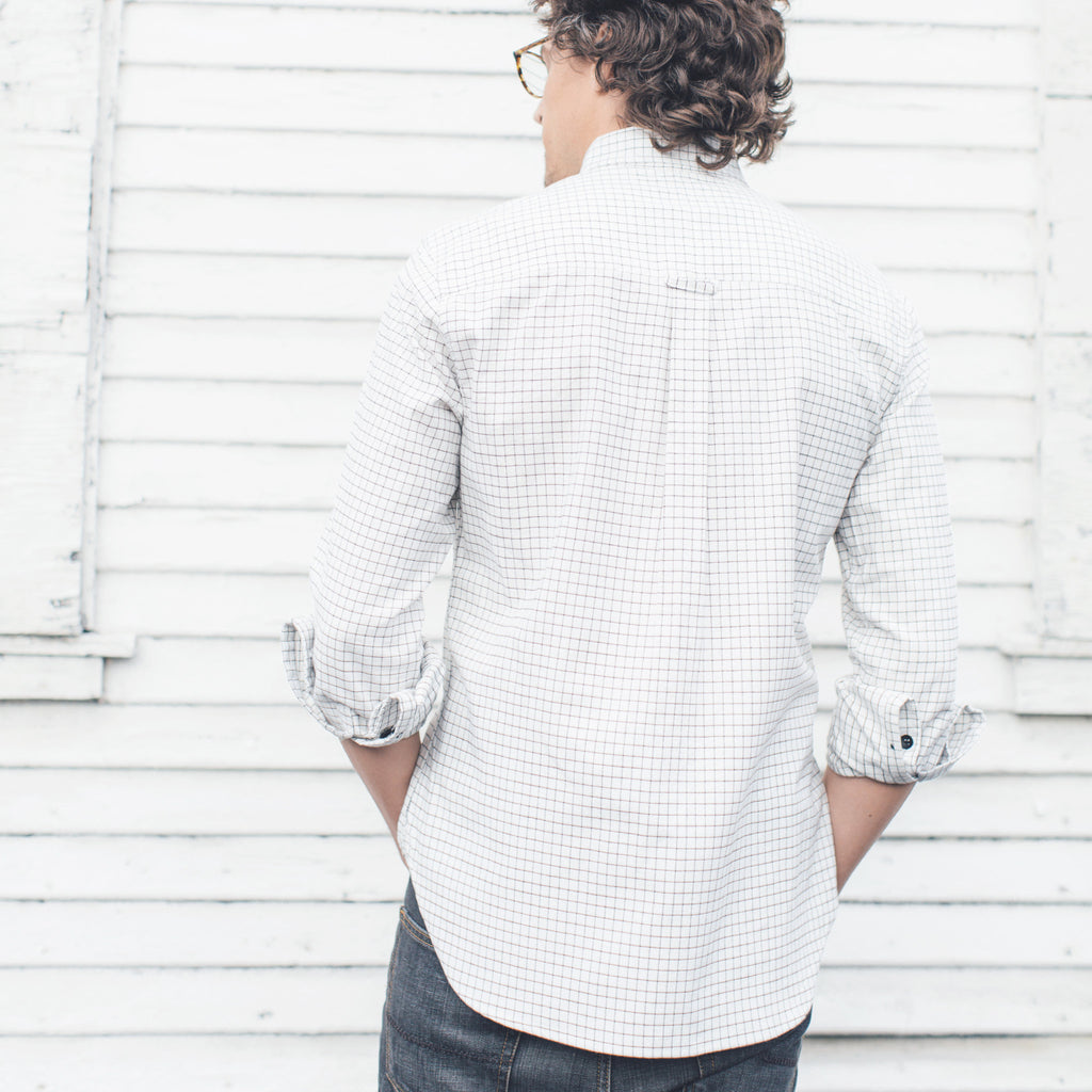 JOLN Mens Reclaimed White Check Shirt