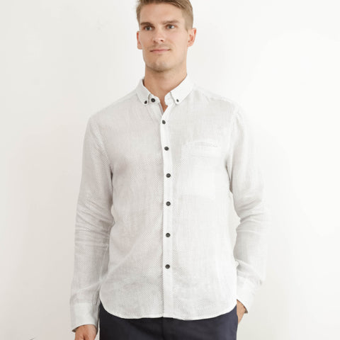 Mens Reclaimed Club Collar White Print Shirt