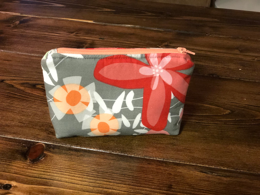 Essential Oil Bag - Gray/Orange Flowers