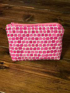 Essential Oil Bag - Pink Squares, Green Dash