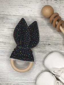 Black Multi Color Bunny Teether
