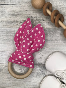 Pink with White Polka Dot Bunny Teether