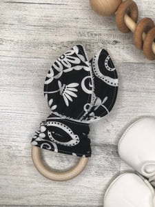 Black and White Bold Print Bunny Teether