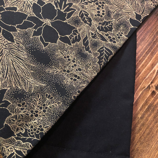 Accent Table Runner - Black/Gold Poinsettia