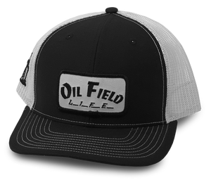 Black/White Oil Field Life Patch Cap