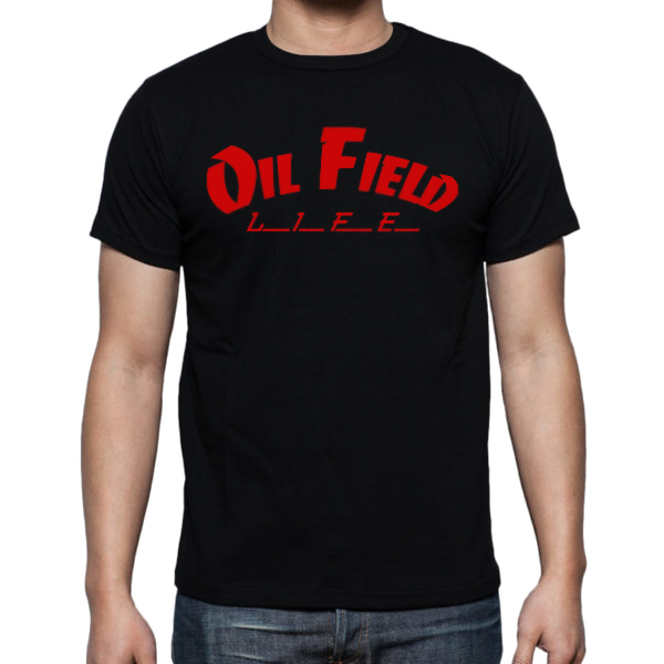 Oil Field Life Red on Black Shirt