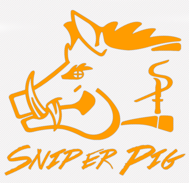 Sniper Pig 4 X 4 Orange Car Sticker