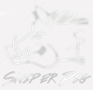 Sniper Pig 9 X 9 Chrome Car Sticker
