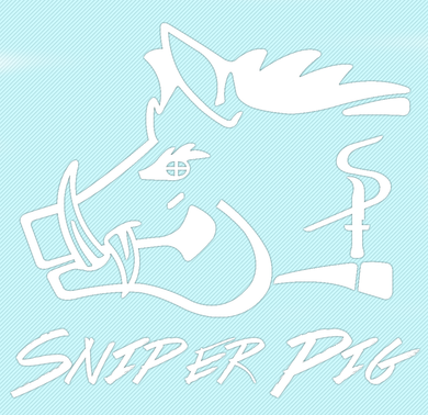 Sniper Pig 4 X 4 White Car Sticker