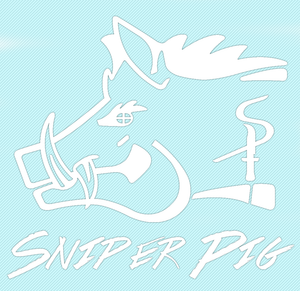 Sniper Pig 9 X 9 White Car Sticker