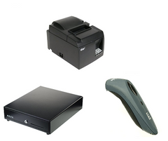 Vend Hardware bundle with Star TSP100 printer, cash drawer and scanner
