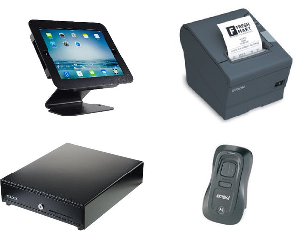 Cin7 hardware bundle with Epson TM-T82II-i intelligent printer, stand, scanner and cash drawer