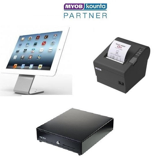 MYOB Kounta Hovertab iPad starter hardware bundle with Epson TM T82ii series printer and cash drawer