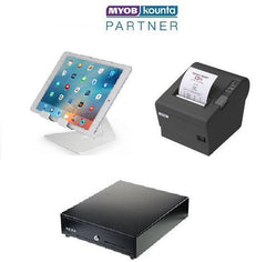 MYOB Kounta iPad starter hardware bundle with Epson TM T82ii series printer and cash drawer