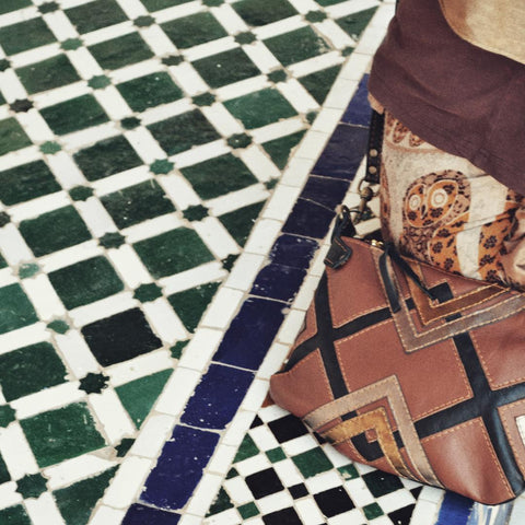 Leather bag on Moroccan tiles