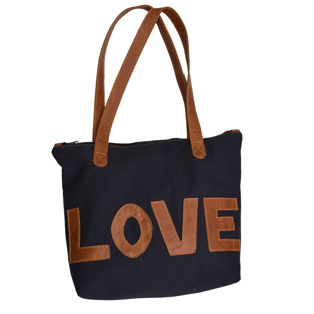 Canvas and leather Basic Leather Tote