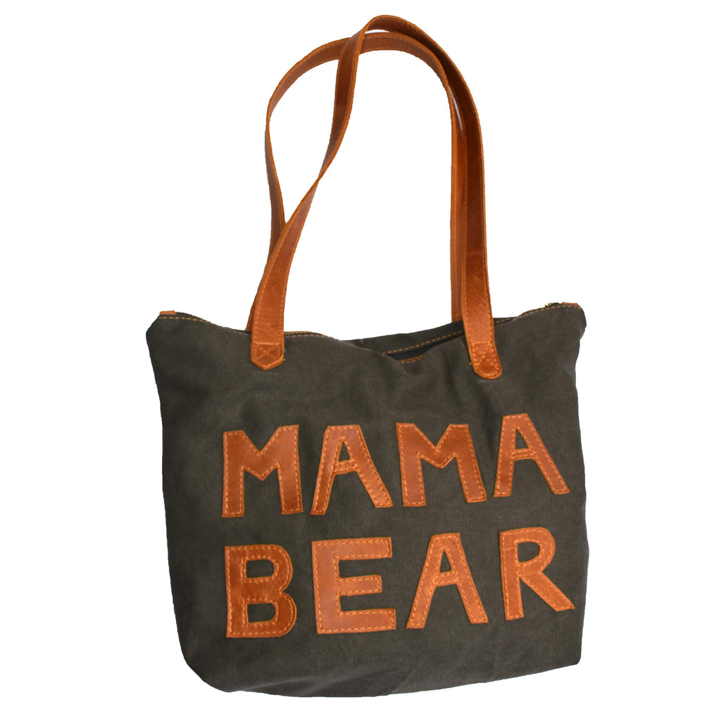 Canvas and leather Basic Leather Tote- Mama Bear