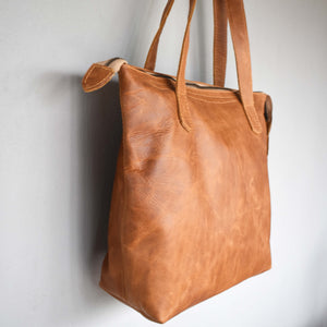 The Basic Leather Tote- Diesel toffee